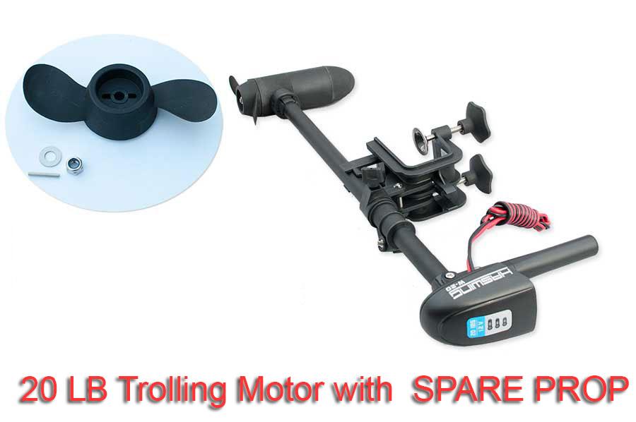 Trolling motor 20 lbs electric w battery indicator kayak for Electric trolling motor battery size