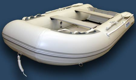 Inflatable fishing boat with fiberglass floor