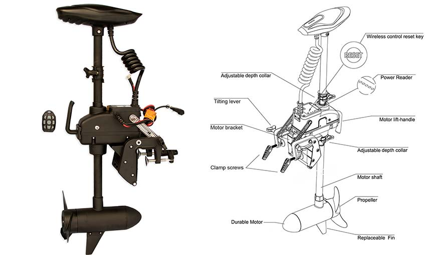 Electric trolling motor 55 lb with remote control transom for Mounting a transom mount trolling motor on the bow