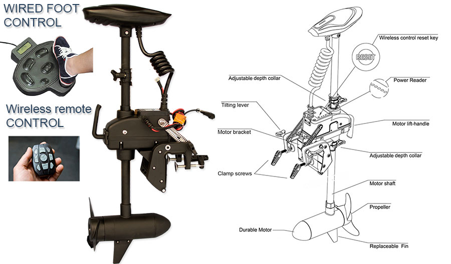 Trolling Motor 55 Lb 12 Volts Cayman T With Wireless Remote