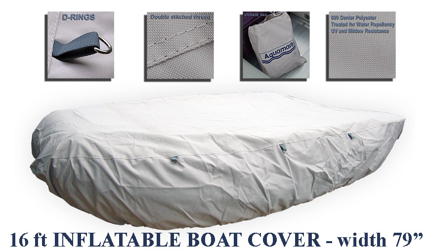 INFLATABLE BOAT COVER for 16 ft  RIB SOFT BOTTOM with outboard
