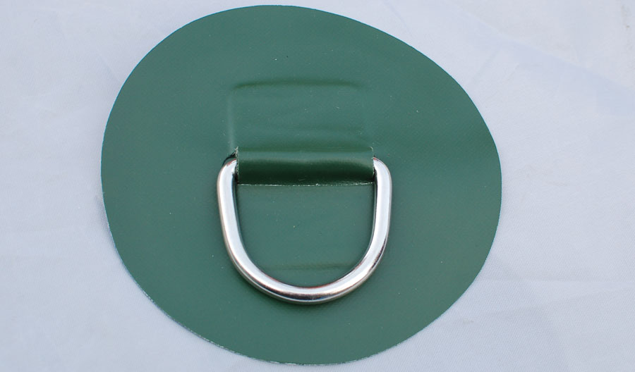 tow d-ring on PVC patch 6 inches green