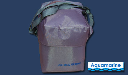 Storage bag with pump for inflatable boat