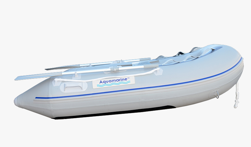 7.5 feet Aquamarine inflatable boat with plywood floor side view