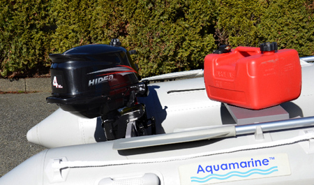 4 hp outboard engine installed on an inflatable boat