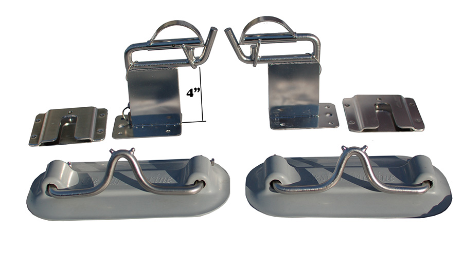 Davit system with 4 in raised heads for inflatable dinghy