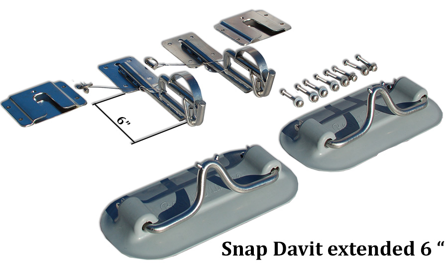 Snap  Davit system for Inflatable boat dinghy  extended 6  inche