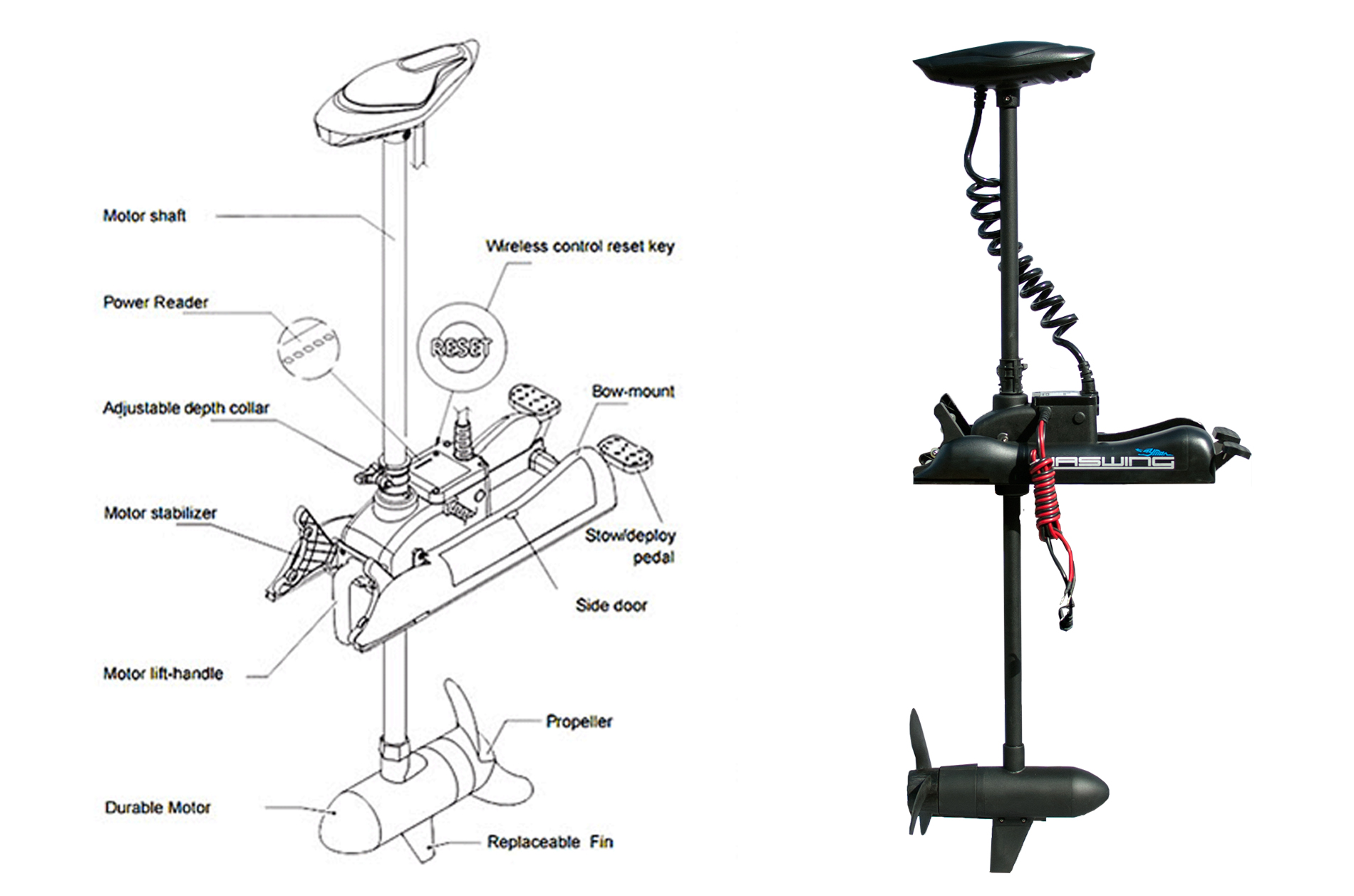 Bow mount trolling motor cayman 80 lbs electric haswing for Mounting a transom mount trolling motor on the bow